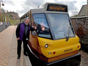 Stourbridge's Shuttle drivers Mac Mcelvenney and Ross beavan celebrate winning the World Cup of Trams