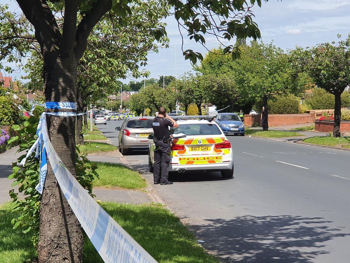 Police at the scene in Oxbarn Avenue, Wolverhampton