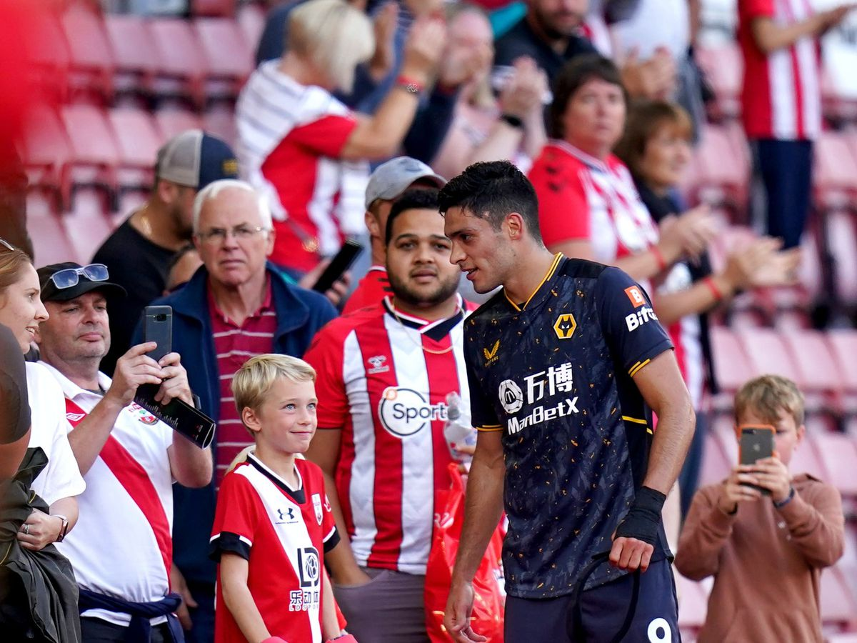 Wolves striker Raul Jimenez speaks to Southampton fans at the end of the match