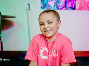 CANNOCK COPYRIGHT EXPRESS & STAR JAMIE RICKETTS 09/08/2020 - 10 year old Courney Jane Chapman braves the shave by having her head shaved to raise funds for Cancer Research with an event held at The Firs Working Men's Club in Burntwood..