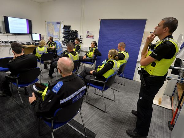 Walsall Police officers briefed ahead of a raid during last week's county lines clampdown