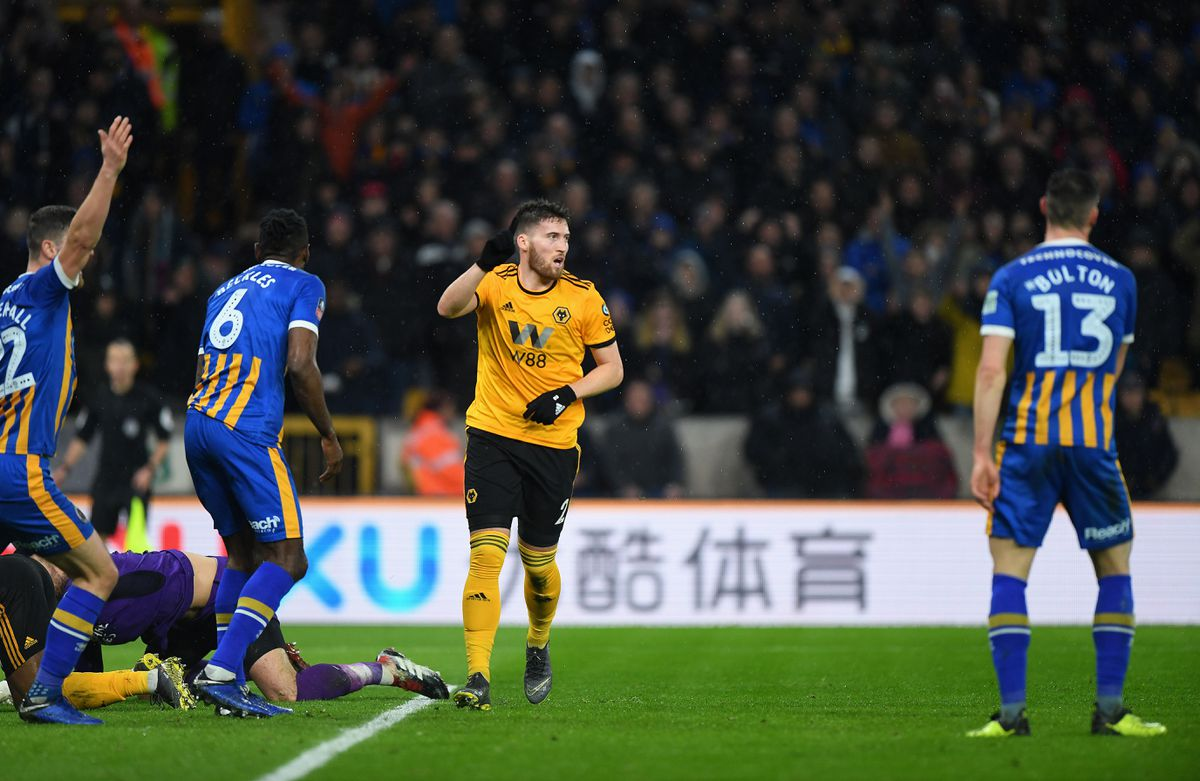 Matt Doherty of Wolverhampton Wanderers celebrates after scoring a goal to make it 2-2 (AMA)