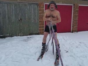 Mick Daffern skiing around Wolverhampton in the snow