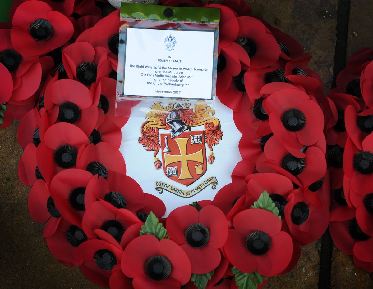 A wreath laid by the mayor and mayoress of Wolverhampton, during Remembrance Day, at St Peters' Square, Wolverhampton