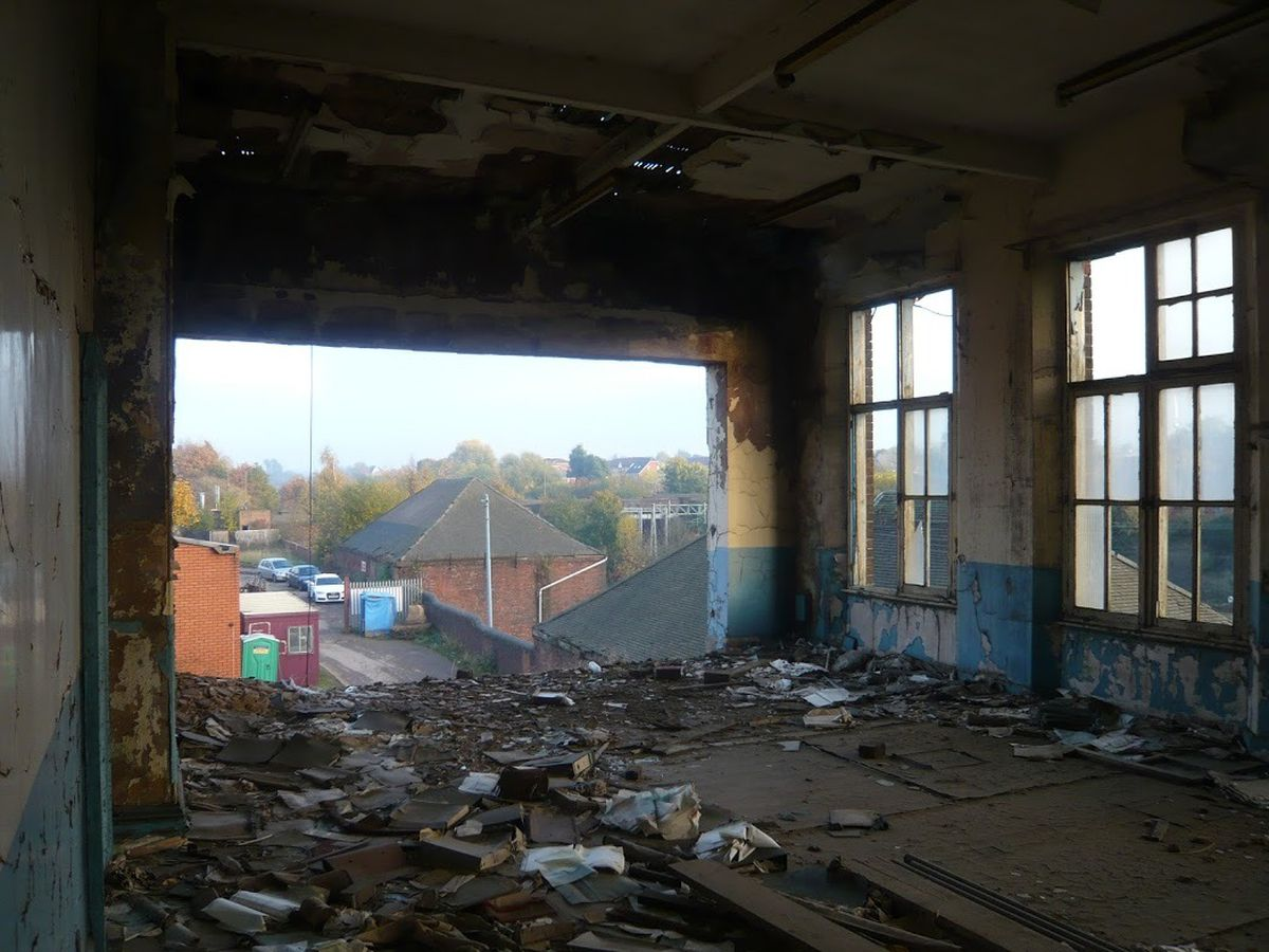Inside one of the derelict buildings
