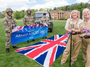 The Lands Girls preparing to perform at Armed Forces Day 2017 with (from left to right) Liam Hall, Chad Allmark and Michael Evans from the Motivational Preparation College for Learning