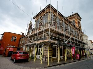 Costa Coffee in Bridgnorth is back open but surrounded by scaffolding