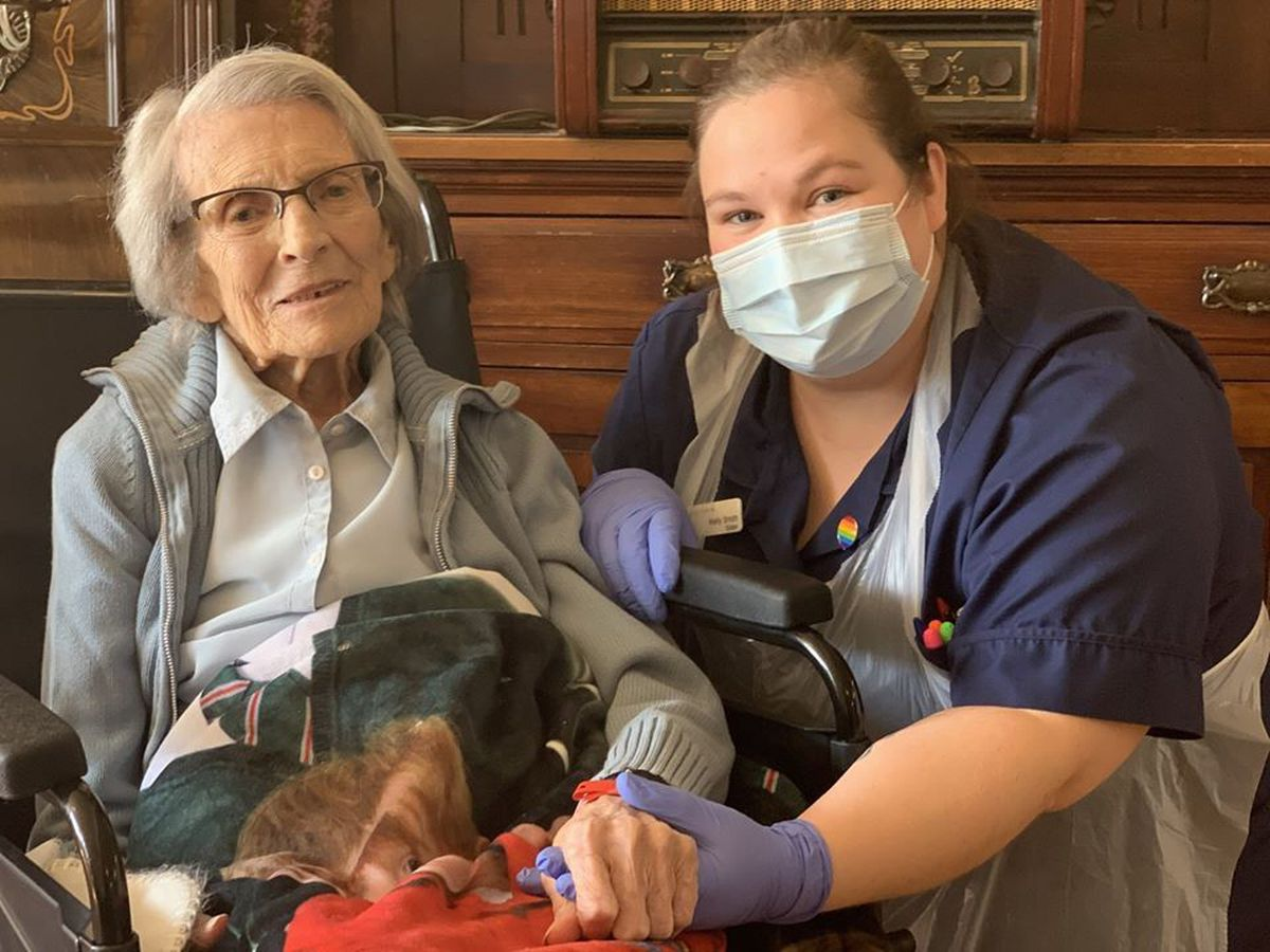 Connie Titchen, 106, with Sister Kelly Smith from City Hospital