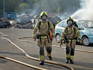Firefighters battling the blaze at Recycling Lives
