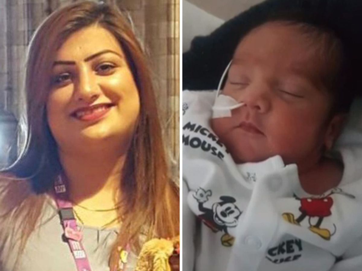 Fozia Hanif, left, died six days after giving birth to Ayaan, right. Photos: ITV