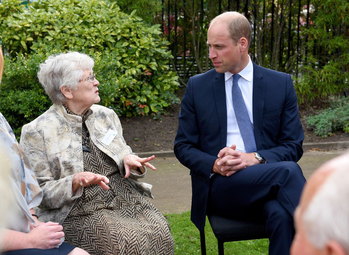 Margaret Westley, a relative of one of the survivors chats to the Duke
