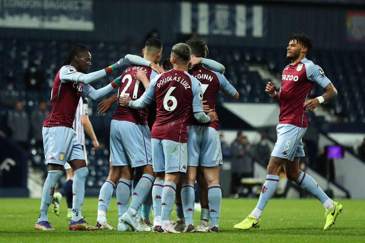Anwar El Ghazi of Aston Villa celebrates after scoring a goal to make it 0-3. (AMA)