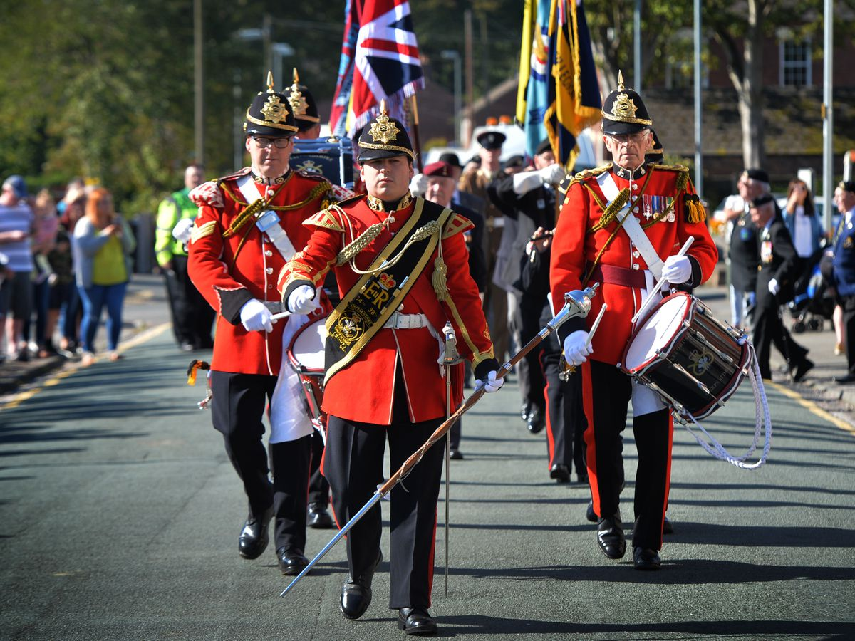 Members of the Staffordshire Corps of Drums take part in the march through Hednesford in commemoration of the 75th anniversary of the Battle of Arnhem