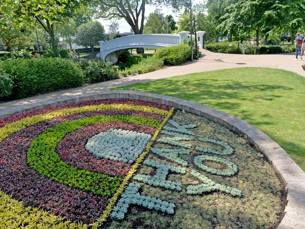 STAFFORD COPYRIGHT TIM STURGESS EXPRESS AND STAR...... 17/06/2021  A new carpet bed has been laid in Victoria park, Stafford , as a tribute to the NHS, key workers and volunteers..