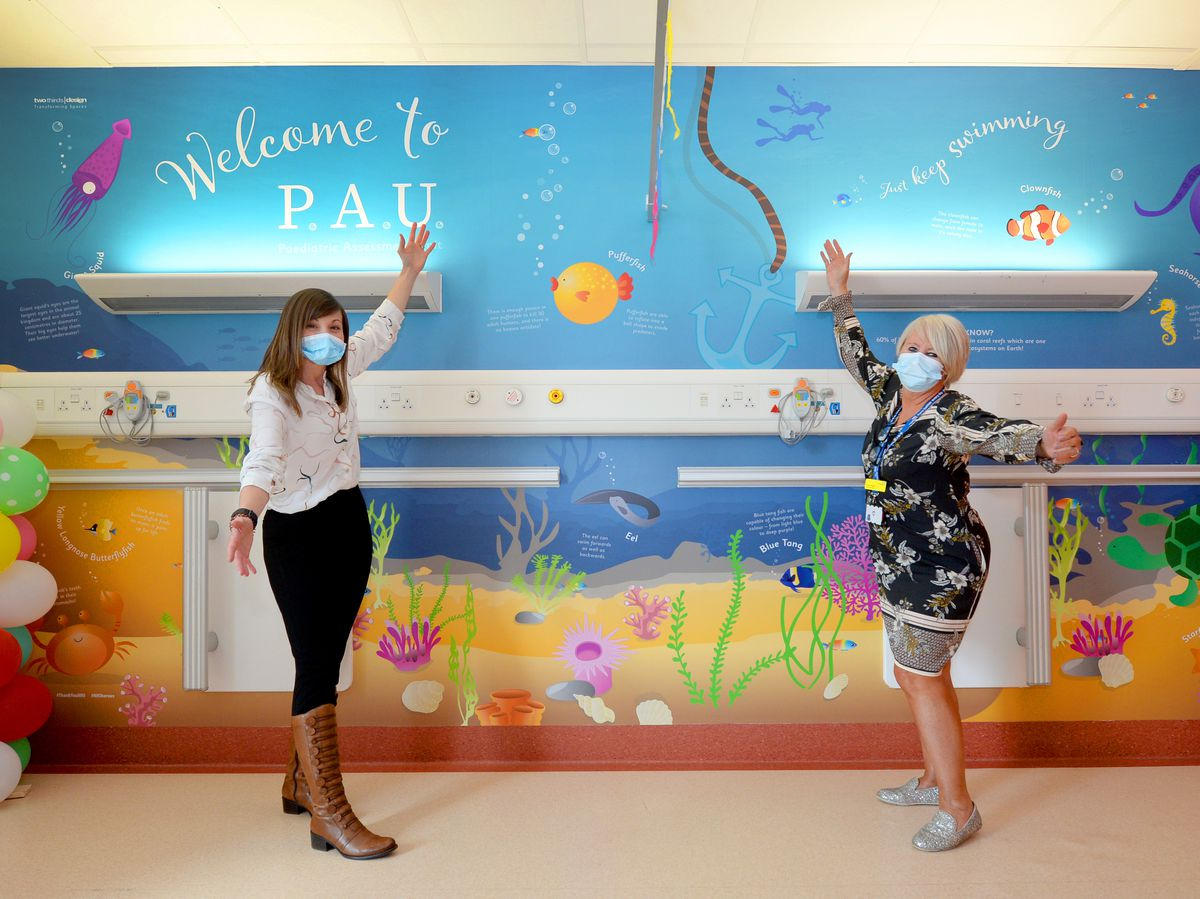 Carly Mills, left, from Two Thirds Design, who designed the mural for the children's unit, with Dudley Group NHS Foundation Trust CEO Diane Wake