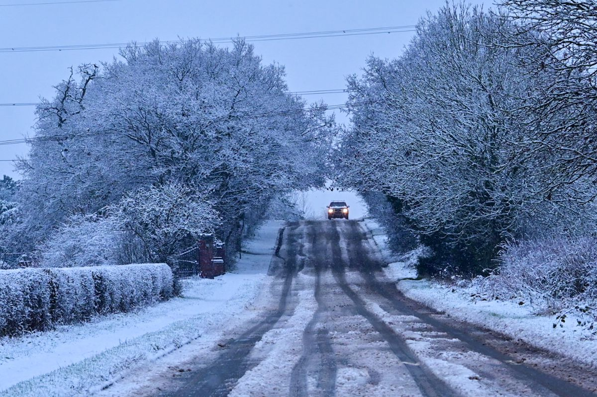 Car in the distance in Coven. Pic: Chris Flavell.