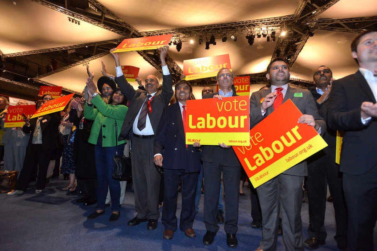 Labour supporters celebrate the win.