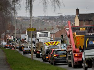 Traffic queuing on High Street in Wordsley after work started there in January