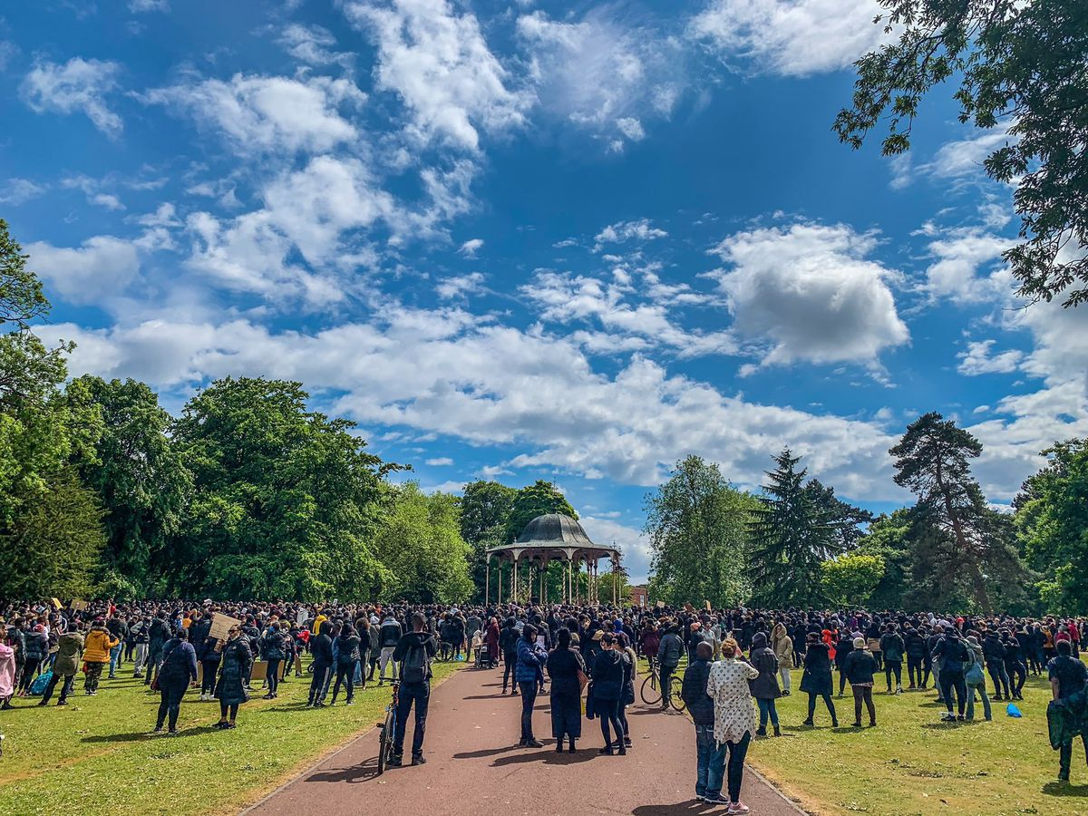 People gathered around the park bandstand for the Black Lives Matter rally. Image: James Levett