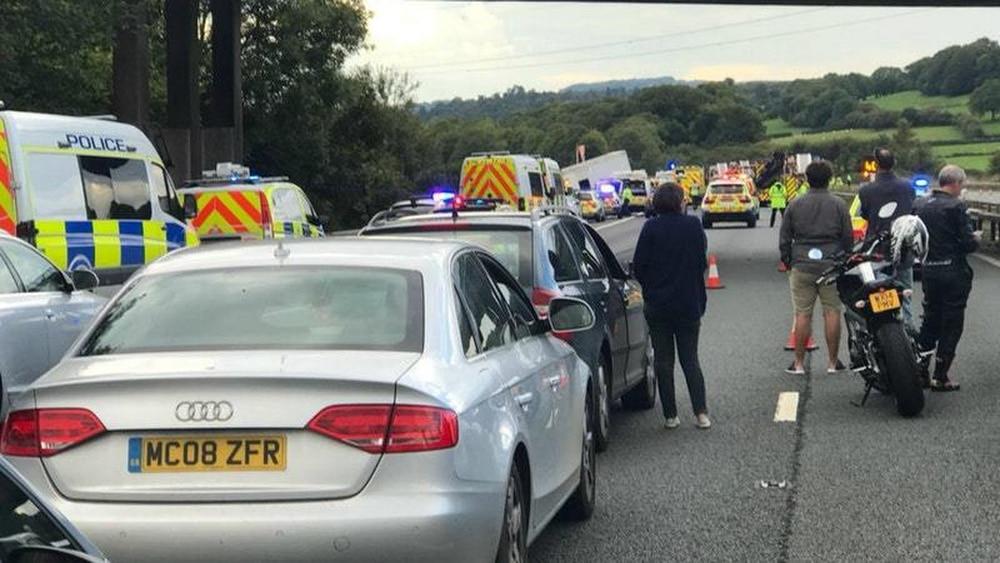 The scene on the M5 motorway