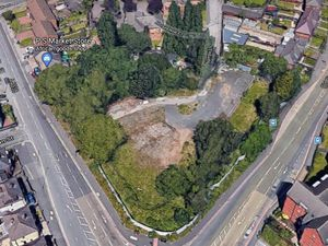 Aerial view of the proposed travellers transit site on the corner of Darlaston Road and Pleck Road, Walsall. Photo: Google