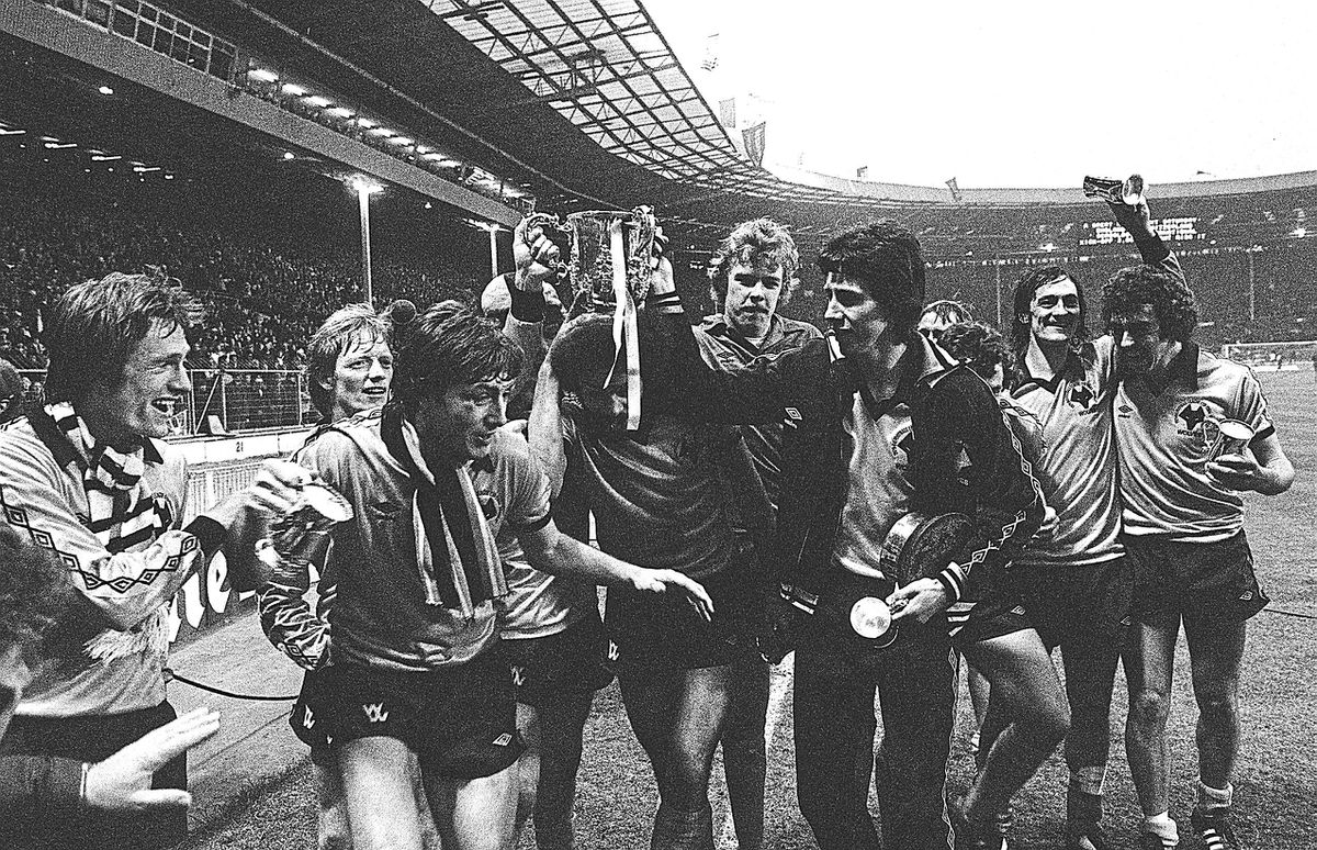 John Richards, third left, celebrates Wolves League Cup triumph at Wembley in 1980 alongside, from left Mel Eves, Willie Car, John Richards, George Berry, Paul Bradshaw, Colin Brazier, Kenny Hibbitt and Geoff Palmer