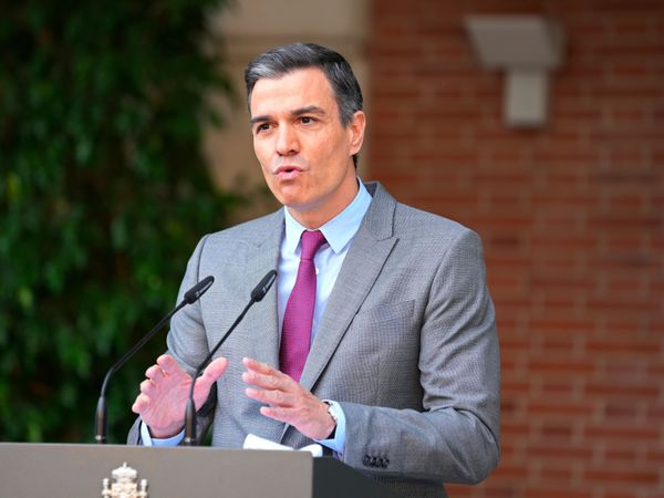 Prime Minister Pedro Sanchez delivers a statement at the Moncloa Palace in Madrid, Spain (Paul White/AP)