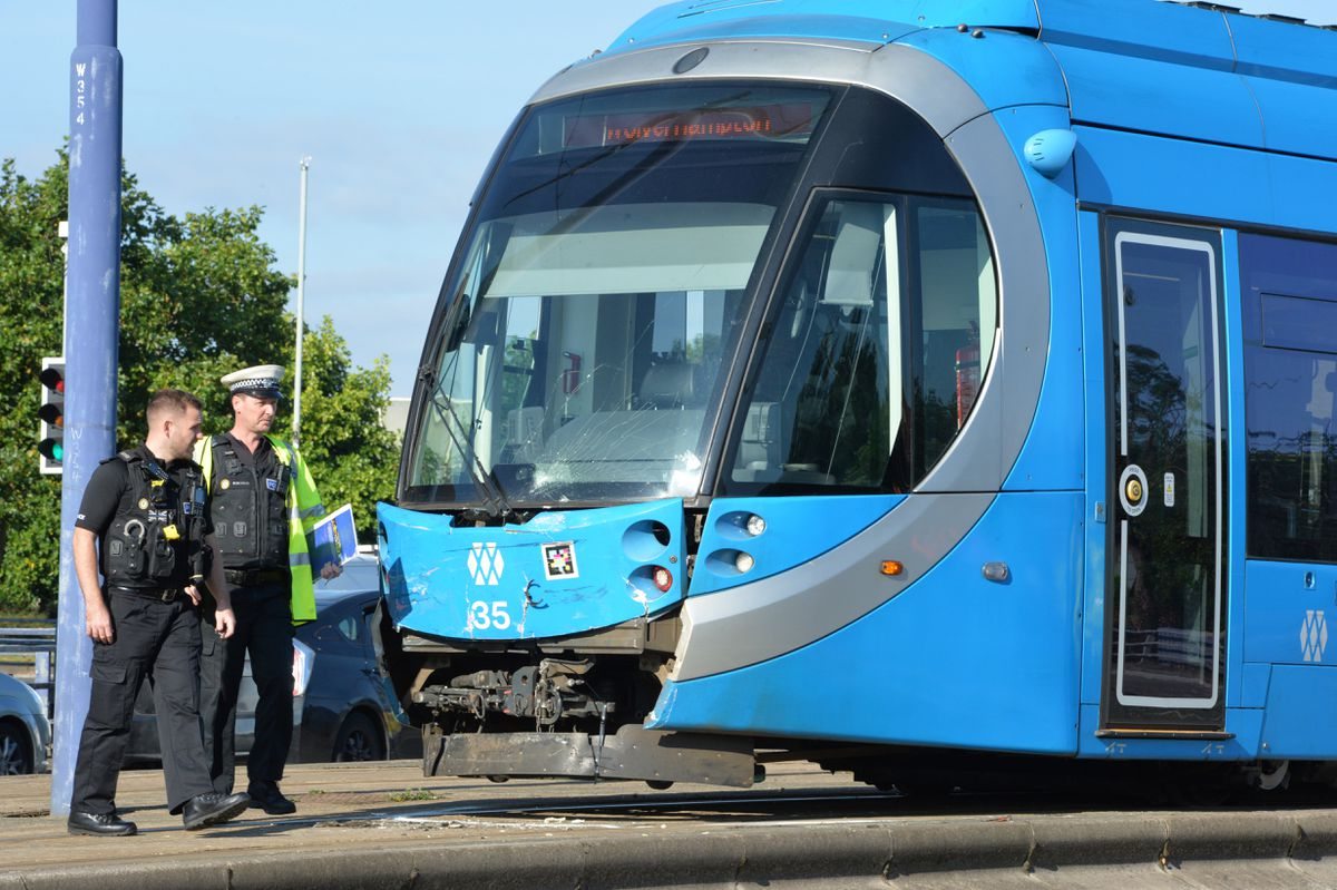 The tram was left with front-end damage