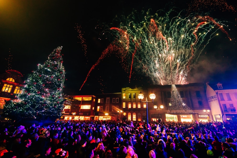 The Christmas lights are turned on in Stafford - Thousands Attend Stafford And Halesowen Christmas Lights Switch-on