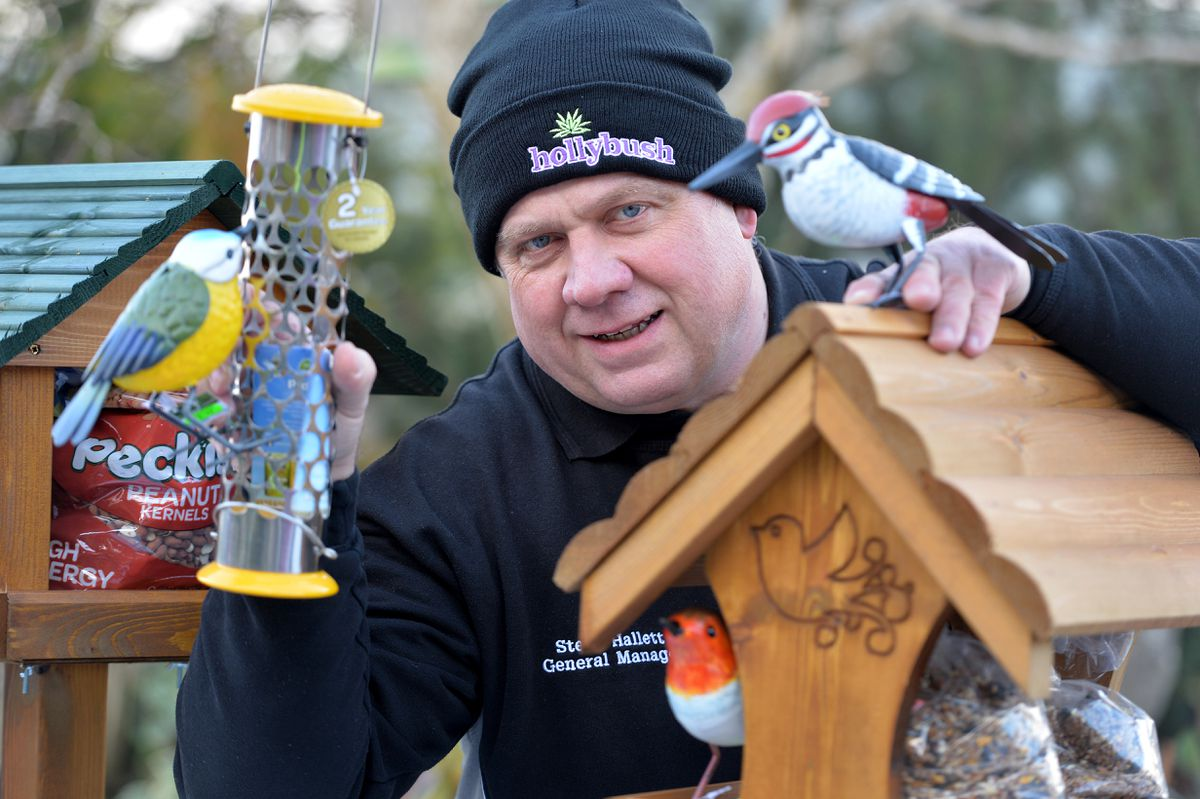 Hollybush Garden Centre's Steve Hallett is asking the public not to forget to feed wild birds in their gardens through this cold spell. Manager Steve Hallett