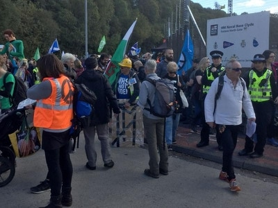 Hundreds of peace campaigners stage rally at nuclear submarine base