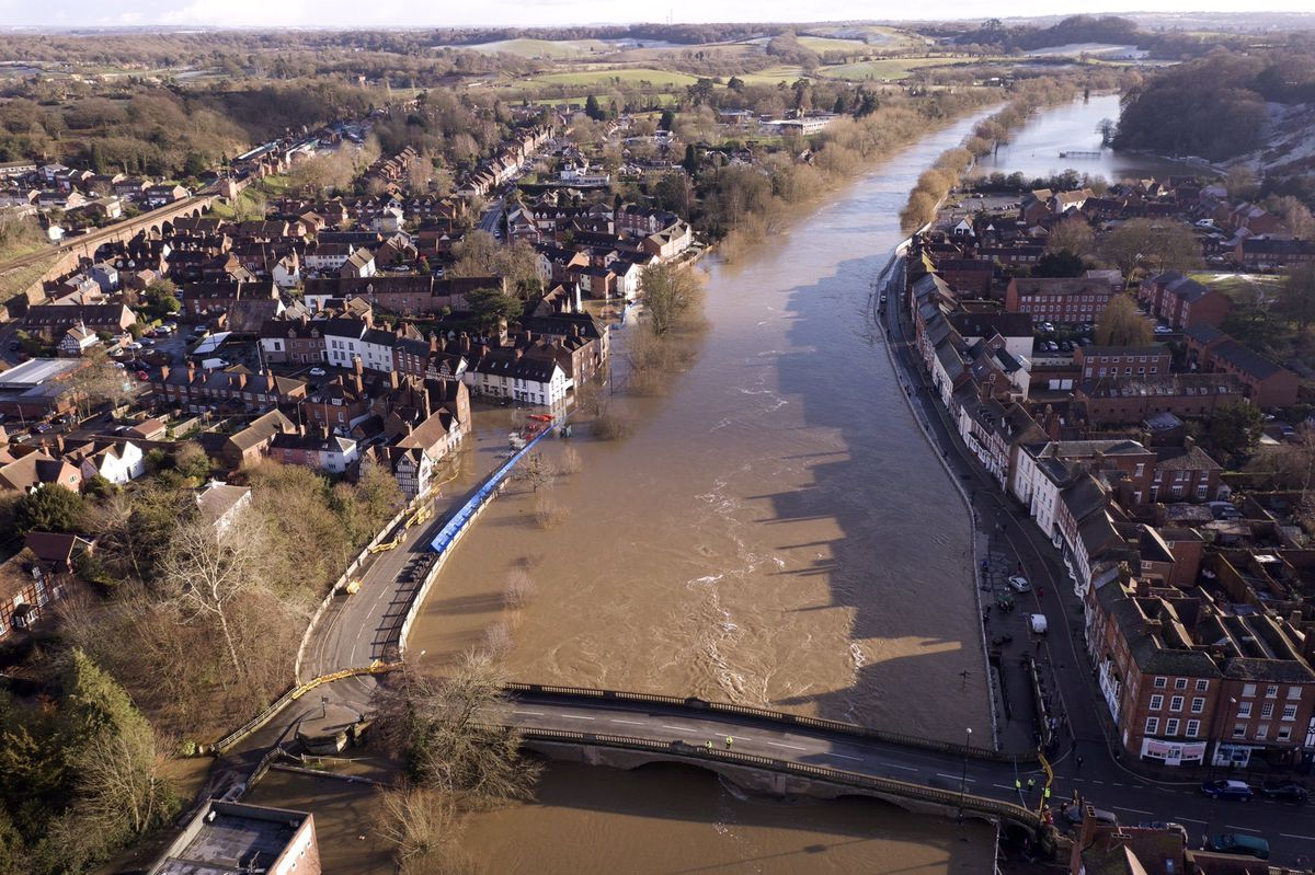 An aerial view of the flooding in Bewdley. Photo: Dave Throup/Environment Agency