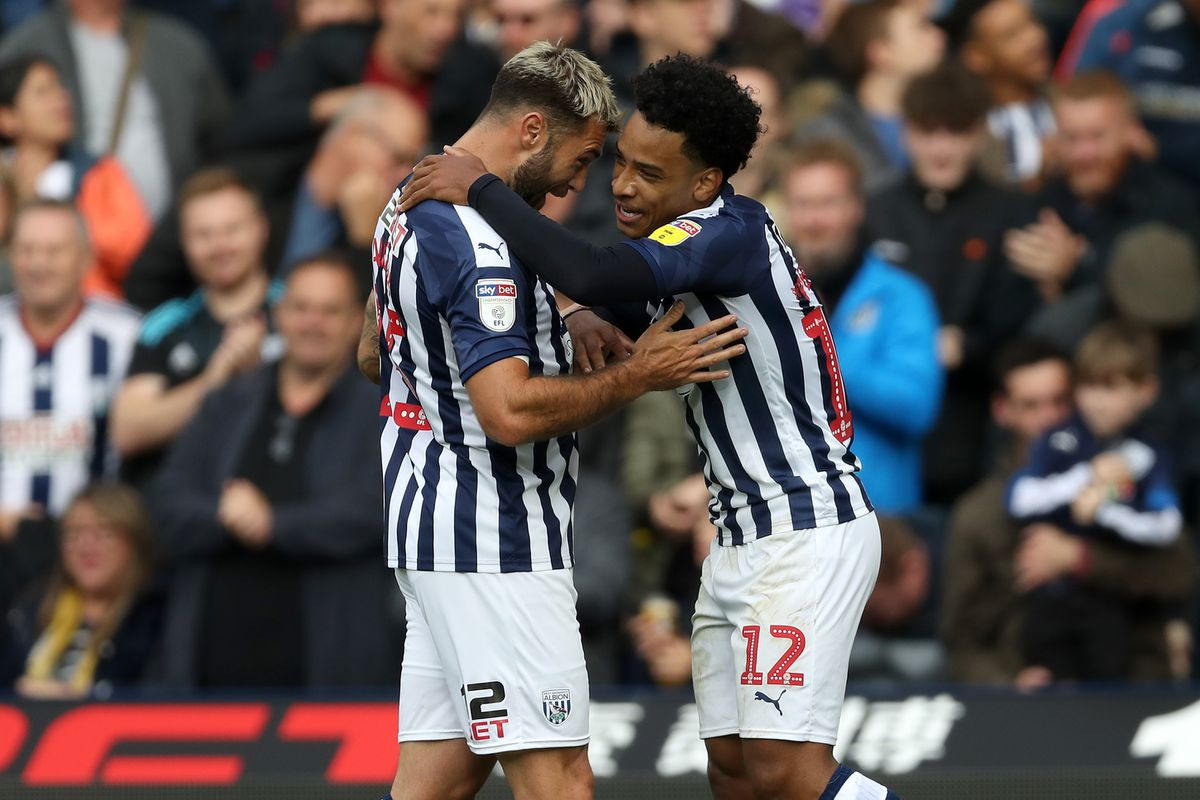 Matheus Pereira of West Bromwich Albion celebrates after scoring a goal to make it 1-0 with Charlie Austin of West Bromwich Albion. (AMA)