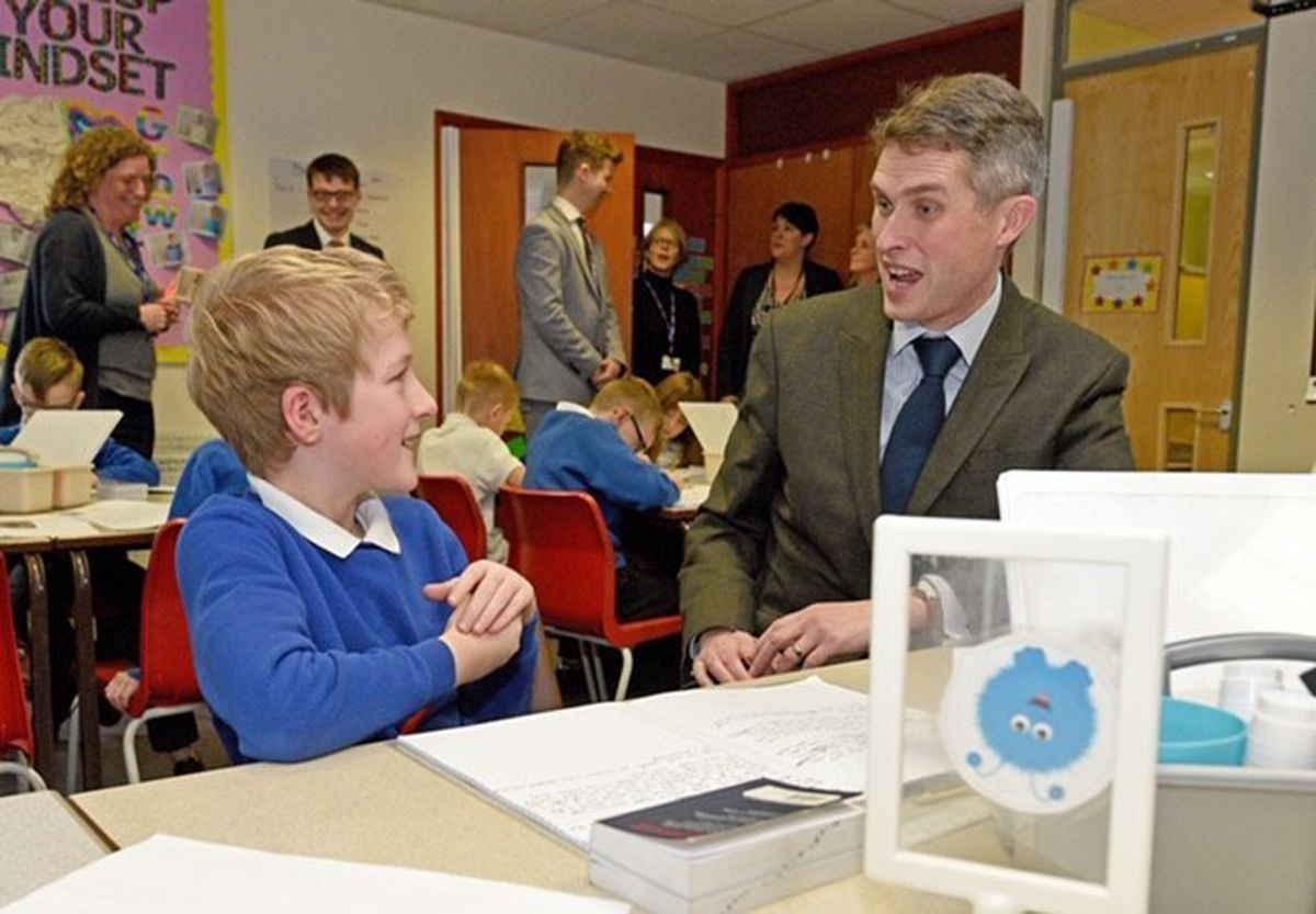 Gavin Williamson chatted to pupils during his visit to Brindley Heath Primary School