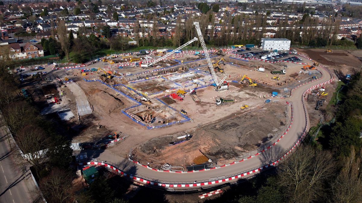 Building work is ongoing at the Aquatics Centre, off Londonderry Lane, Smethwick, ready for the 2022 Commonwealth Games