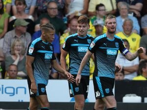 Harvey Barnes of West Bromwich Albion celebrates after scoring a goal to make it 1-3 with Dwight Gayle of West Bromwich Albion and Chris Brunt of West Bromwich Albion.
