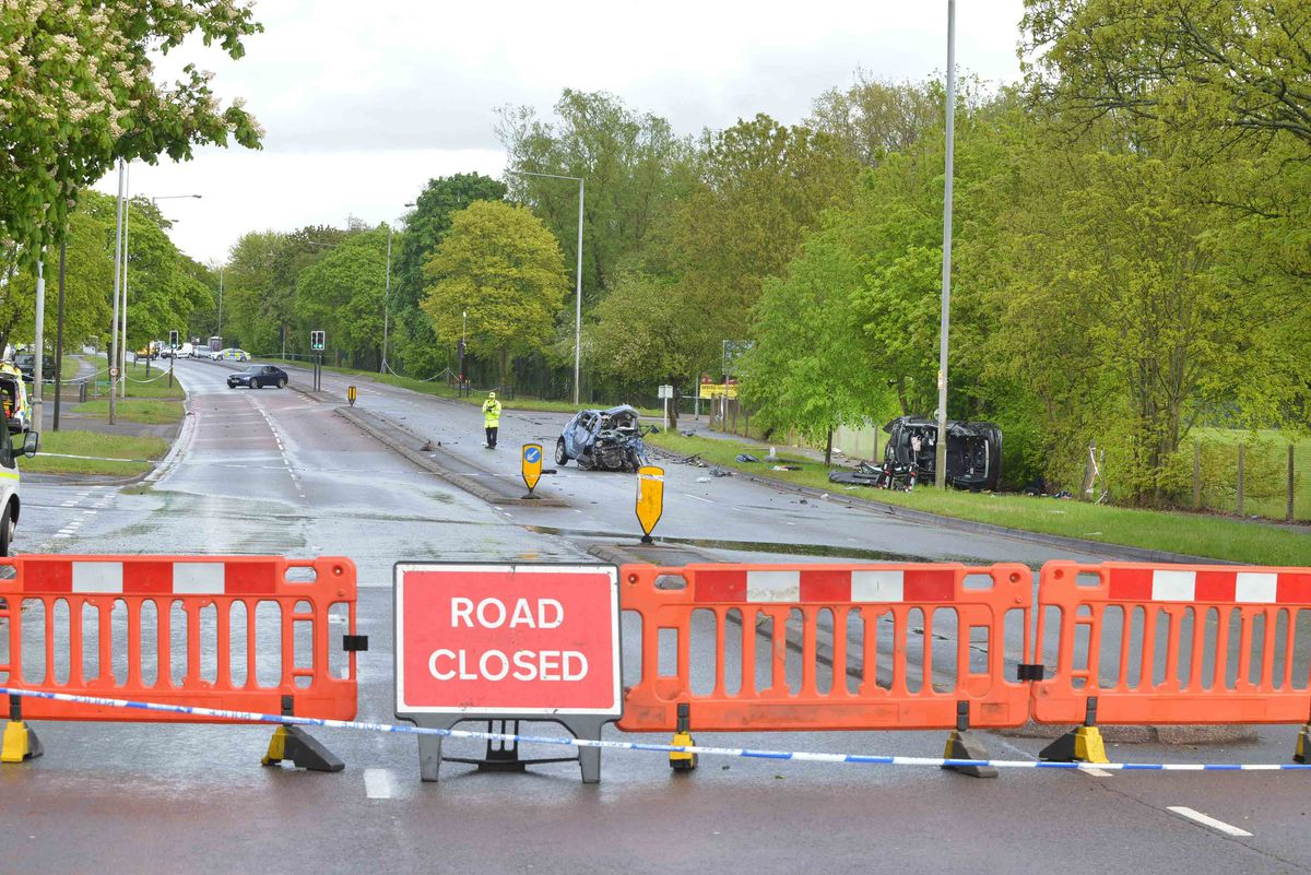 The road was closed throughout Wednesday afternoon