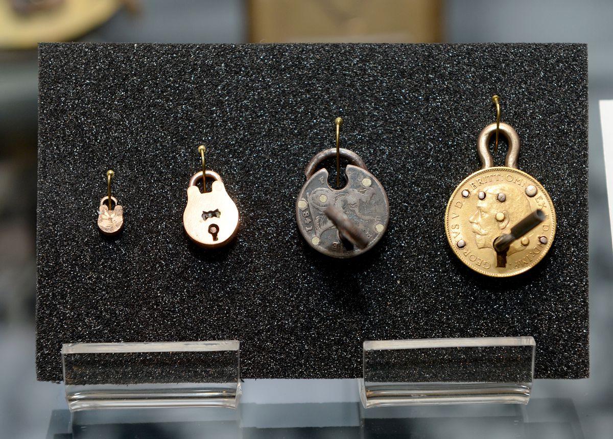 Miniature locks on display