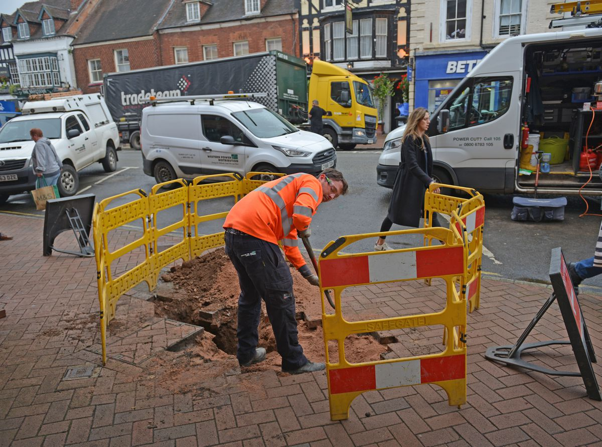 The scene after an electrical explosion in Bridgnorth