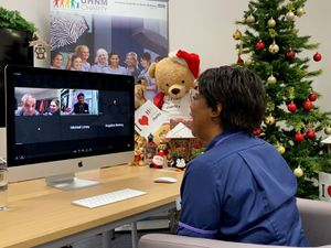 UHNM senior sister Sharon Brissett, on the videocall with Robbie Williams and Ayda Field