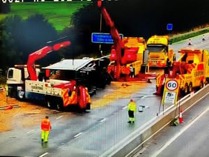 The scene of the crash on the M6 near Stafford. Photo: National Highways