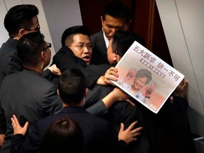 Hong Kong assembly session halted by new opposition protest