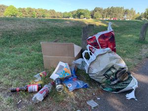 Litter on Marquis Drive, Cannock Chase