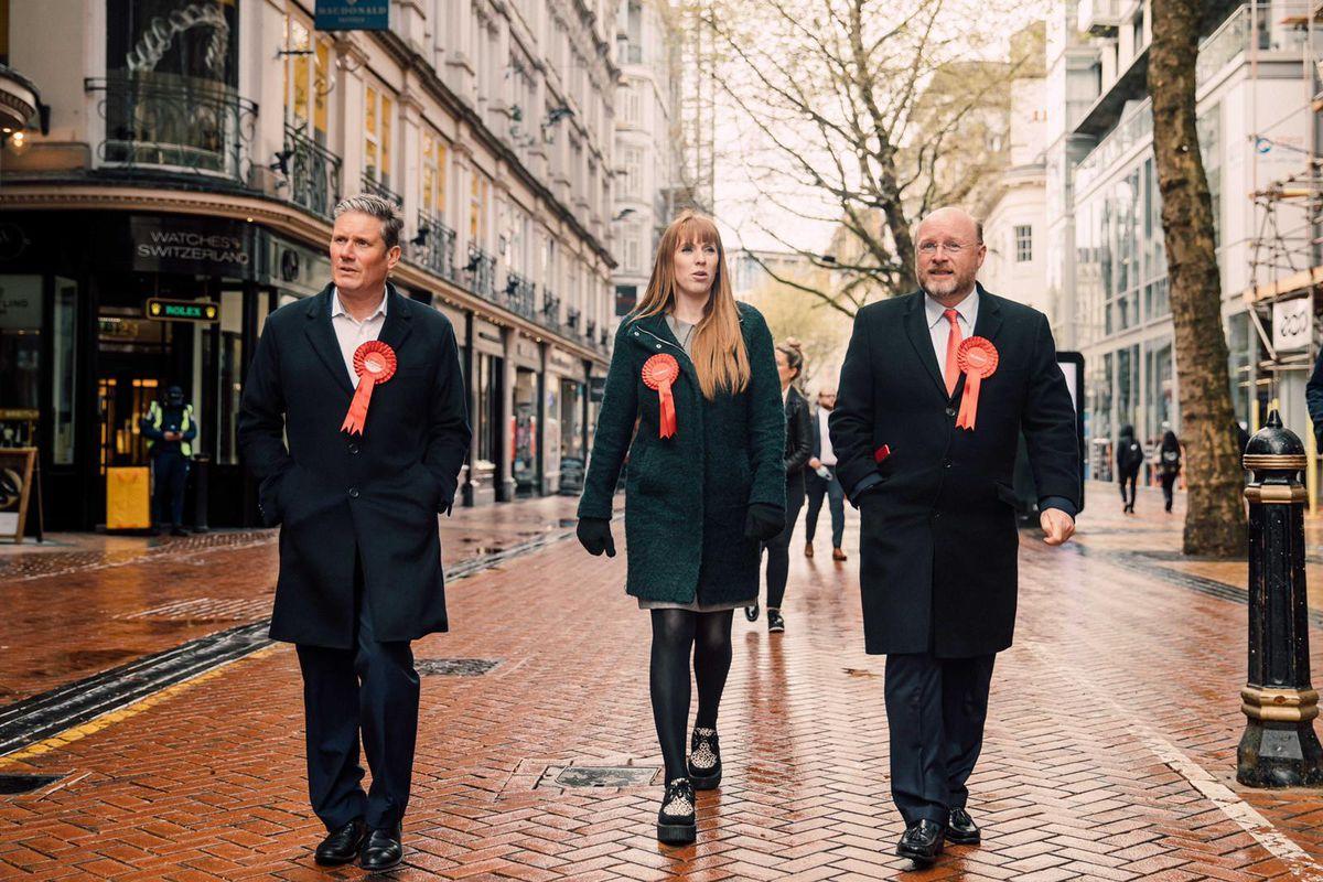 Sir Keir Starmer in Birmingham with Mayoral candidate Liam Byrne and Angela Rayner.