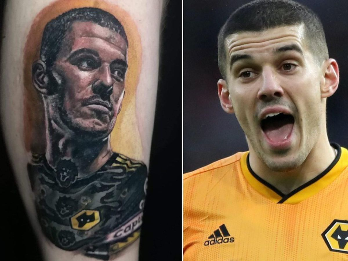 Left, Ashley's tattoo of Conor Coady
