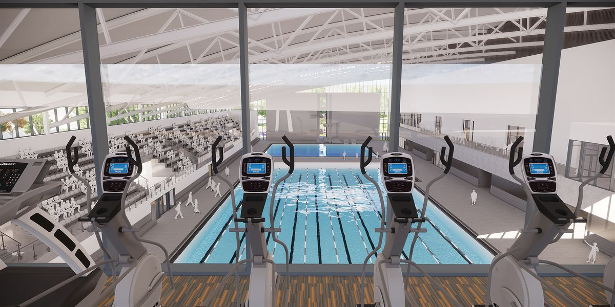 An artist's impression overlooking the pool at Sandwell Aquatics Centre