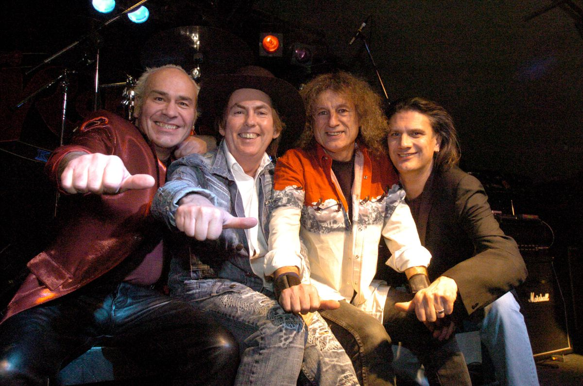 Happier times - Dave Hill, second from left, and Don Powell, second from right, celebrating Slade's 40th anniversary in 2006