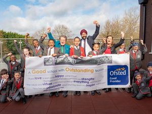 Staff and pupils celebrate the Ofsted rating