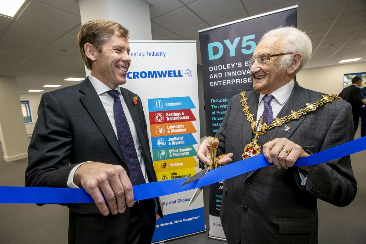 Neil Jowsey, managing director of Cromwell, left, with the Mayor of Dudley, Councillor Alan Taylor