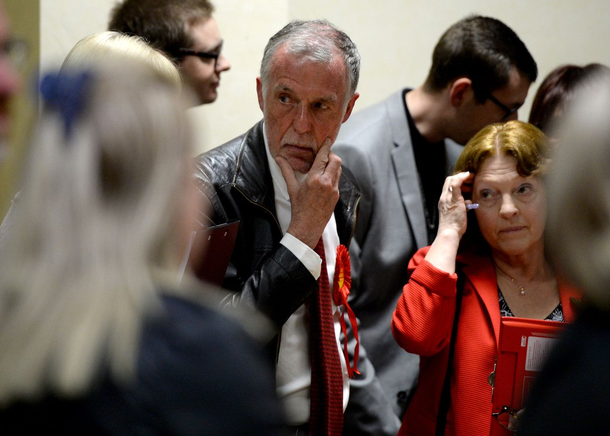 Labour leader George Adamson watches on at the Cannock Chase count